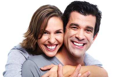 happy smiling couple in white background