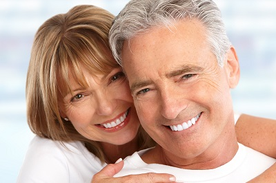 Happy Loving couple close up with white smile