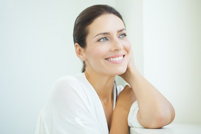 close up of woman with bright smile