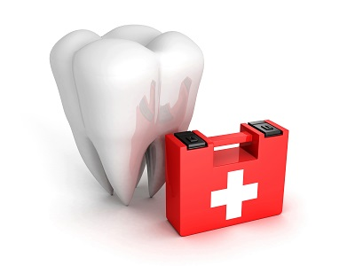 3d render of tooth and medical kit