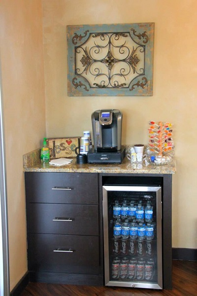 coffee and water station in waiting room