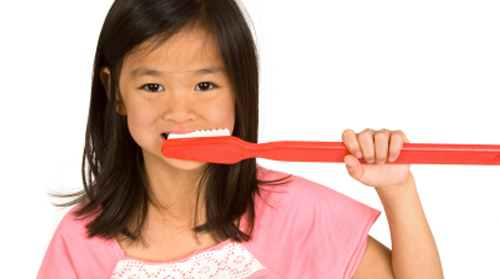 teching children to brush their teeth