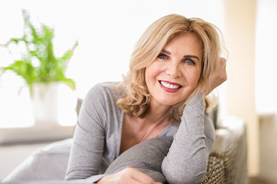mature woman smiling at home