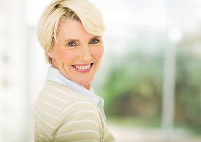 close up portrait of beautiful middle aged woman indoors