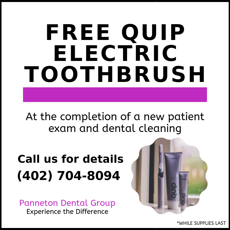 Patients at Panneton Dental Group will receive a free Quip electric toothbrush at the completion of a new patient exam and dental cleaning.