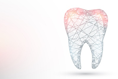 concept image of tooth with polygon wireframe