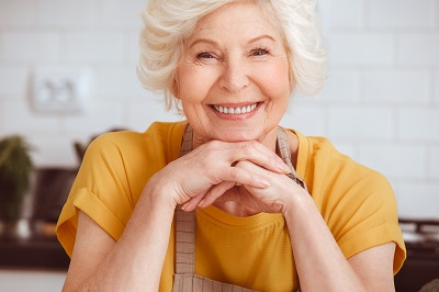 close up of smiling elderly woman