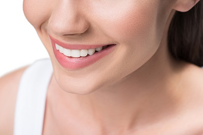 close up of woman's perfect white smile