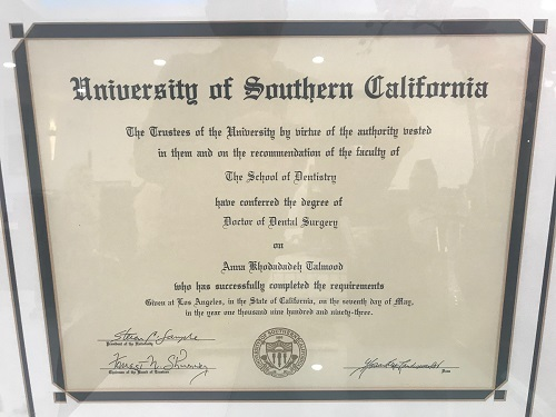 anna talmood degree from university of southern california