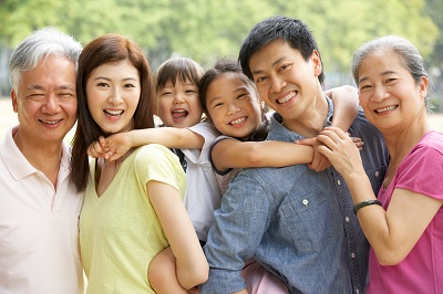 photo of extended asian family