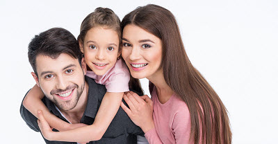 Image of happy family smiling over white background