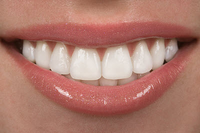 Close up of healthy white teeth