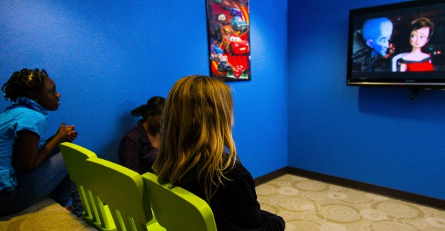 Our little patients watching an animated movie at Alligator Dental, a pediatric dentist located in Sequin, Texas.  Accepting new patients now!