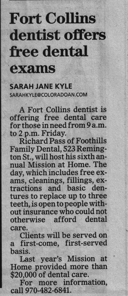 Fort Collins free dental exams