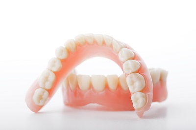 close up of dentures