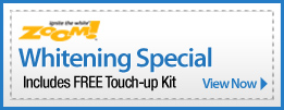 Zoom Whitening Special Includes FREE Touch-up Kit Coupon. Available in Taylor and Dearborn Downriver area.